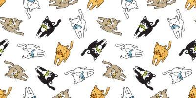 Фотообои кошка бесшовные модели вектор котенок ситцевая рыба лосось мультфильм шарф изолированные плитка фон повторить обои каракули иллюстрация