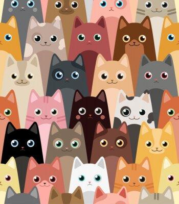 Фотообои Кошки. Мультфильм вектор бесшовные обои.