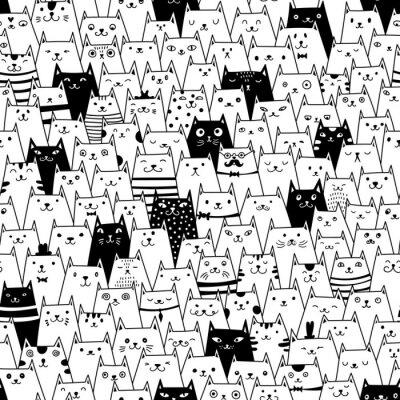 Фотообои Кошки бесшовные модели вектор