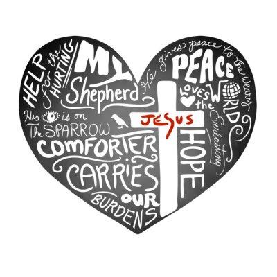 Фотообои классной доски вектор сердца с белым рукописным текстом типографики с христианским крестом и Иисусом красными буквами, вдохновляющий дизайн церкви бюллетень, мира, любви и помощи для Больно концепции