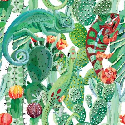 Фотообои хамелеон и кактус бесшовного фона
