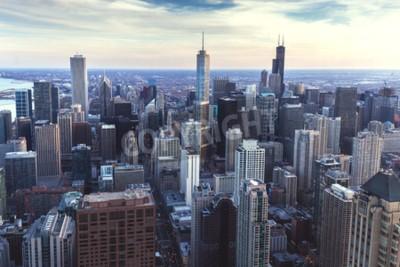 Фотообои Чикаго городской городской пейзаж с небоскребами, воздушные или птичьего полета, пасмурный день. Иллинойс, США.