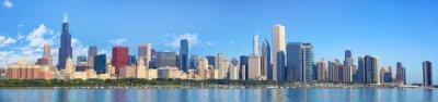 Фотообои панорама горизонта Чикаго с видом на озеро Мичиган, Иллинойс, США