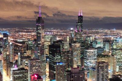Фотообои Chicago Urban с высоты птичьего полета в сумерках