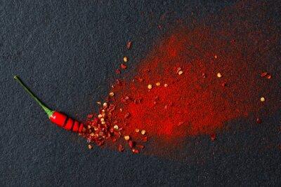 Фотообои Chilli, красный перец и перец чили порошок