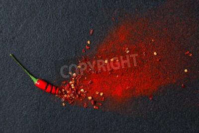 Фотообои Чили, хлопья красного перца и стручковый перец чили