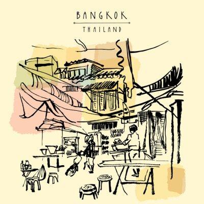 Фотообои Китай город в Бангкоке, Таиланд. Продовольственная киосков, столы, стулья. Люди покупают китайскую еду в простом уличном кафе. Вертикальные старинные открытки ручной обращается. Векторная иллюстрация