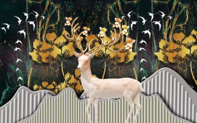 Фотообои christmas background with deer