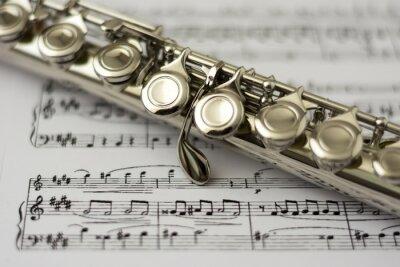 Фотообои Закрыть флейте на флейте Ноты фоне