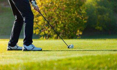 Фотообои Крупным планом человек, играя в гольф на зеленом конечно