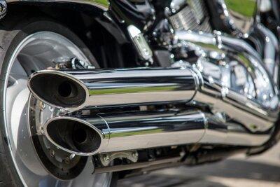 Фотообои крупным планом мотоциклов выхлопных газов