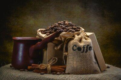Фотообои кофе мешок на темном фоне