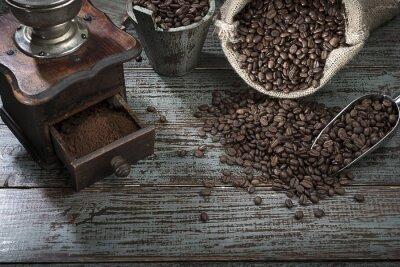 Фотообои Кофе в зернах и Grinder сверху