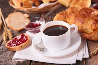 Фотообои чашка кофе и круассан