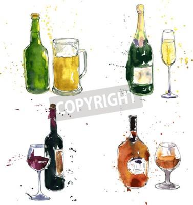 Фотообои бутылка коньяка и чашка, бутылка вина и бокал, бутылка шампанского и стакан, бутылка пива и чашка, рисунок акварелью и чернилами, ручной обращается векторные иллюстрации