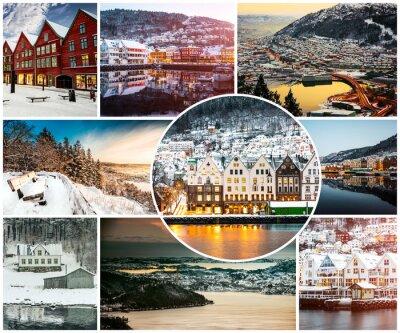 Фотообои коллаж из зимы и достопримечательностей в Бергене