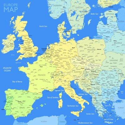 Фотообои Карта Цвет Европа