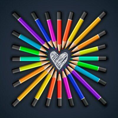 Фотообои Цветные карандаши, форма сердца, вектор EPS10.