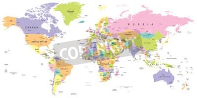 Фотообои Цветная карта мира - границы, страны и города - иллюстрация