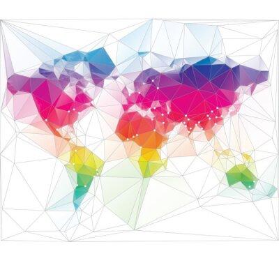 Фотообои цветной дизайн карта мира треугольник
