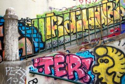 Фотообои colorful graffiti on a wall