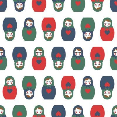 Фотообои Красочные Матрешка бесшовные модели. Симпатичные деревянные куклы России - Матрешка. Матрешка Матрешка иллюстрации на белом фоне.