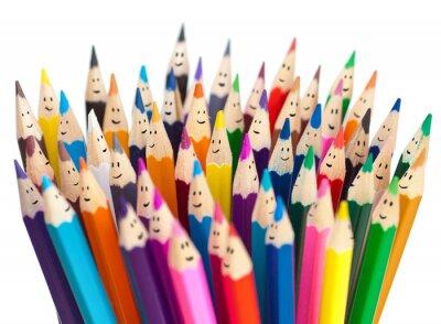 Фотообои Цветные карандаши, как улыбающиеся лица людей, изолированных. Социальная Networ