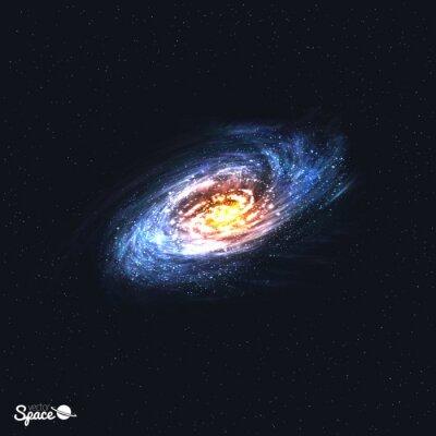 Фотообои Красочные Реалистичная Спиральная галактика на фоне пространства. Векторная иллюстрация.