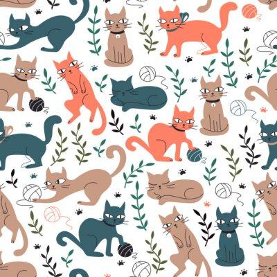 Фотообои Красочный бесшовный узор с кошками и листьями.