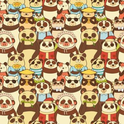 Фотообои Красочные бесшовные модели с забавными пандами