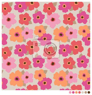 Фотообои Красочные бесшовные вектор цветы шаблон.