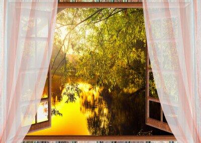 Фотообои colorful sunrise view from the window