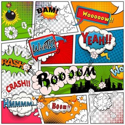 Фотообои Комиксов страницы разделены линиями с речи пузыри, звучит эффект. Ретро фон макет. Шаблон Комиксы.