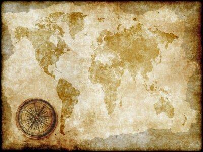 Фотообои компас с классическим карте