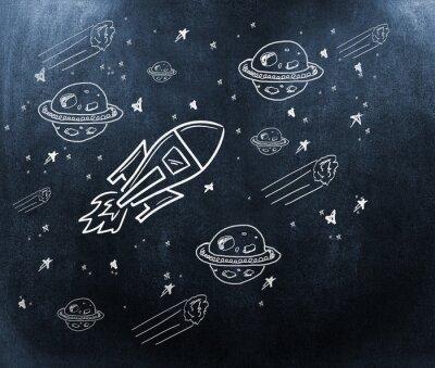 Фотообои Композитный изображение планеты, звезды и ракеты