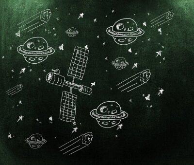 Фотообои Композитный изображение планеты, звезды и спутника