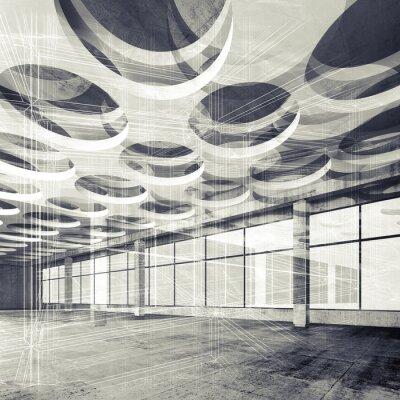Фотообои Бетонные внутренние и каркасные линии, 3d иллюстрации