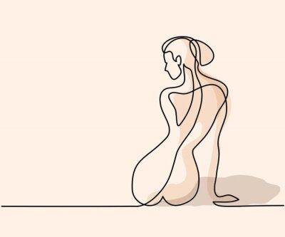 Фотообои Непрерывный чертеж линии. Женщина сидит спиной. Мягкая векторная иллюстрация цвета