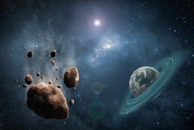 Фотообои Космос сцена с астероидом, планеты и туманности в пространстве
