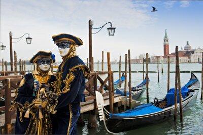 Фотообои Пара в маске карнавал в Венеции.