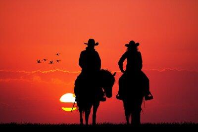 Фотообои пара на лошади силуэт