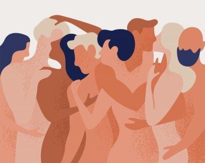 Фотообои Толпа голых мужчин и женщин обнимаются и целуются. Понятие о многоженстве, полиамории, открытых интимных романтических и сексуальных отношениях, свободной любви. Красочные векторные иллюстрации в плос