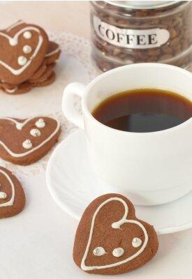 Фотообои Чашка кофе и шоколадные печенья