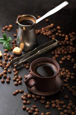 Фотообои Чашка кофе и кофе в зернах