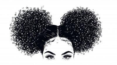 Фотообои Курчавая иллюстрация девушки красотки изолированная на ясной предпосылке. Двойные булочки с длинными волосами. Идея ничьей руки для визитных карточек, шаблонов, сети, брошюры, плакатов, открыток, сало