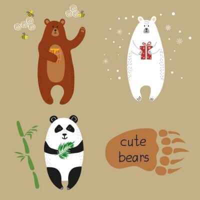 Фотообои Симпатичные медведи установлен. Сборник мультфильмов векторных иллюстраций бурый медведь, белый медведь и панда.