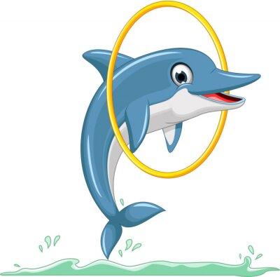 Фотообои cute dolphin cartoon jumping
