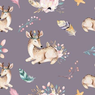 Фотообои Симпатичный семейный щенок, олень и кролик. животное питомник жирафа, и медведь изолированные иллюстрации. Акварель бохо, рисование ягненок бесшовные модели. Детский фон, детская печать