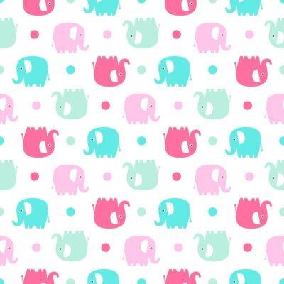 Фотообои Симпатичный плоский слон. Вектор бесшовные модели с забавными цветными слониками силуэт и точек. Сладкий фон для младенцев и детей. Пастельные цвета - розовый и зеленый на белом фоне.