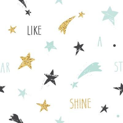 Фотообои Милый забавный бесшовный фон с рисованной звездами и вдохновляющие рукописной цитатой Shine Like A Star. Блеск, пастельные синие и черные блестки, изолированных на белом фоне.